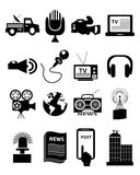 News Broadcasting Icons Set Stock Photo