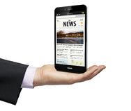 News for the businessman. Smartphone with a news web over a businessman hand stock illustration