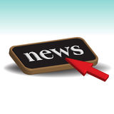 News button. Red cursor pushing an isolated news button. News concept Royalty Free Stock Photography