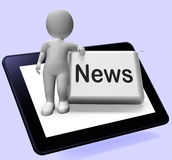 News Button With Character Shows Newsletter Broadcast Online Royalty Free Stock Photos