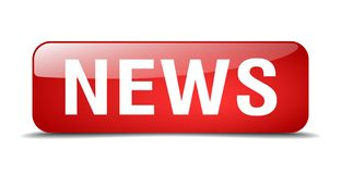 News button. News square 3d realistic isolated glass web button. news Royalty Free Stock Images