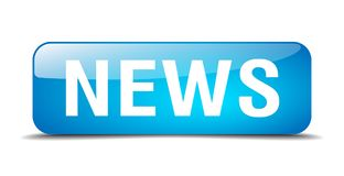 News button. News square 3d realistic isolated glass web button. news Stock Photos