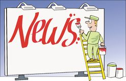 News cartoon. Cartoon of man painting news lettering on billboard Royalty Free Stock Image