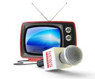 News channel television, mass media broadcasting and internet newscast concept Royalty Free Stock Photo