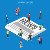 News classic paper newspaper flat isometric vector 3d Stock Images