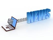 News concept. Send news  file via internet Stock Photos