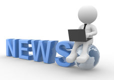 News concept. 3d people - man, person with a laptop and earth globe. News concept Stock Photo