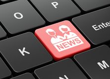 News concept: Anchorman on computer keyboard background Royalty Free Stock Photos