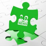 News concept: Anchorman on puzzle background Royalty Free Stock Image