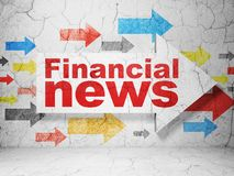 News concept: arrow with Financial News on grunge wall background. News concept:  arrow with Financial News on grunge textured concrete wall background, 3D Stock Photography
