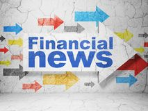 News concept: arrow with Financial News on grunge wall background. News concept:  arrow with Financial News on grunge textured concrete wall background, 3D Stock Images