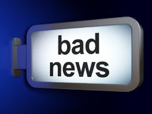 News concept: Bad News on billboard background. News concept: Bad News on advertising billboard background, 3D rendering Royalty Free Stock Photography