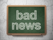 News concept: Bad News on chalkboard background. News concept: text Bad News on Green chalkboard on grunge wall background, 3d render Royalty Free Stock Image