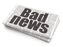 News concept: Bad News on Newspaper background. News concept: Pixelated black text Bad News on Newspaper background, 3D rendering Stock Photo