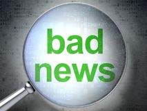 News concept: Bad News with optical glass. News concept: magnifying optical glass with words Bad News on digital background, 3D rendering Royalty Free Stock Photography