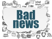 News concept: Bad News on Torn Paper background. News concept: Painted blue text Bad News on Torn Paper background with  Hand Drawn News Icons Royalty Free Stock Photos