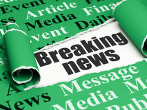 News concept: black text Breaking News under the piece of  torn paper. News concept: black text Breaking News under the curled piece of Green torn paper with Royalty Free Stock Image