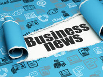 News concept: black text Business News under the piece of  torn paper. News concept: black text Business News under the curled piece of Blue torn paper with Royalty Free Stock Images