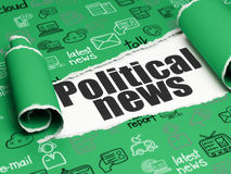 News concept: black text Political News under the piece of  torn paper Stock Photos