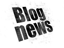 News concept: Blog News on Digital background. News concept: Pixelated black text Blog News on Digital background Stock Photography