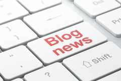 News concept: Blog News on computer keyboard background. News concept: computer keyboard with word Blog News, selected focus on enter button background, 3D Royalty Free Stock Photo