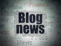 News concept: Blog News on Digital Data Paper background. News concept: Painted black text Blog News on Digital Data Paper background with   Tag Cloud Royalty Free Stock Images