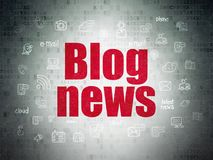 News concept: Blog News on Digital Data Paper background. News concept: Painted red text Blog News on Digital Data Paper background with  Hand Drawn News Icons Stock Photo