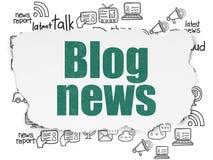 News concept: Blog News on Torn Paper background. News concept: Painted green text Blog News on Torn Paper background with  Hand Drawn News Icons Stock Photo