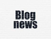 News concept: Blog News on wall background. News concept: Painted black text Blog News on White Brick wall background Stock Image