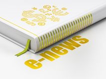 News concept: book Finance Symbol, E-news on white background. News concept: closed book with Gold Finance Symbol icon and text E-news on floor, white background Stock Photography