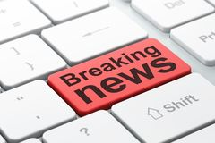 News concept: Breaking News on computer keyboard background. News concept: computer keyboard with word Breaking News, selected focus on enter button background Royalty Free Stock Image