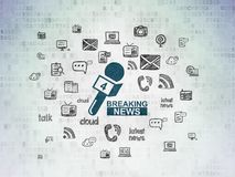 News concept: Breaking News And Microphone on Digital Data Paper background Royalty Free Stock Photography