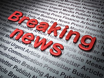 News concept:  Breaking News on News background. 3d render Stock Photography