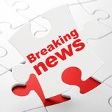 News concept: Breaking News on puzzle background. News concept: Breaking News on White puzzle pieces background, 3D rendering Royalty Free Stock Image