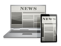 News Concept with Business Newspaper on Screen Stock Image