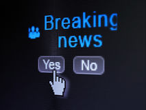 News concept: Business People icon and Breaking News on digital computer screen. News concept: buttons yes and no with pixelated Business People icon, word Stock Photos