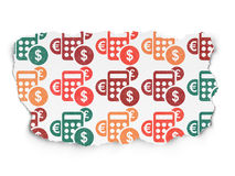 News concept: Calculator icons on Torn Paper Royalty Free Stock Photo
