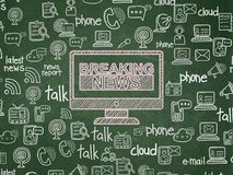 News concept: Breaking News On Screen on School board background Royalty Free Stock Photo