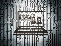 News concept: circuit board with Breaking News On Laptop Royalty Free Stock Images