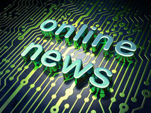 News concept: circuit board with word Online News. 3d render Royalty Free Stock Photos
