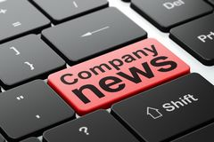 News concept: Company News on computer keyboard background. News concept: computer keyboard with word Company News, selected focus on enter button background, 3D Royalty Free Stock Photo