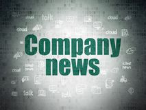 News concept: Company News on Digital Data Paper background. News concept: Painted green text Company News on Digital Data Paper background with  Hand Drawn News Stock Image