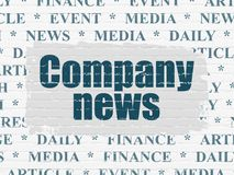 News concept: Company News on wall background. News concept: Painted blue text Company News on White Brick wall background with  Tag Cloud Royalty Free Stock Images