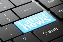 News concept: Latest News on computer keyboard background. News concept: computer keyboard with word Latest News, selected focus on enter button background, 3D Stock Photography
