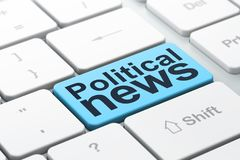 News concept: Political News on computer keyboard background. News concept: computer keyboard with word Political News, selected focus on enter button background Royalty Free Stock Photo