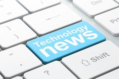 News concept: Technology News on computer keyboard background. News concept: computer keyboard with word Technology News, selected focus on enter button Royalty Free Stock Photos