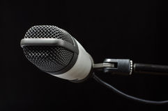 News concept condenser microphone in radio station Royalty Free Stock Images