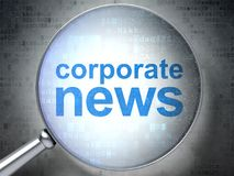 News concept: Corporate News with optical glass. News concept: magnifying optical glass with words Corporate News on digital background, 3D rendering Royalty Free Stock Image
