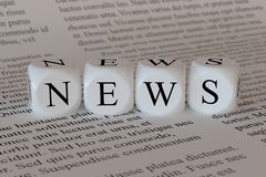 News concept. 3d illustration of news concept. White boxes on the newspaper background Royalty Free Stock Photography