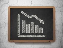 News concept: Decline Graph on chalkboard Royalty Free Stock Photography
